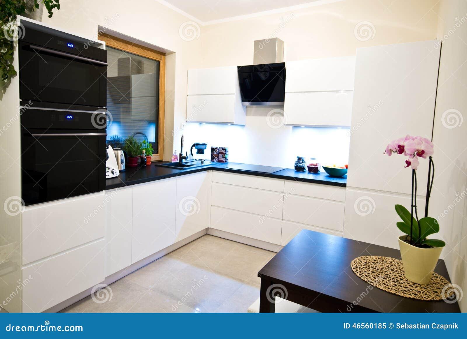 Modern kitchen in white stock photo image 46560185 - Kaplan furniture for elegant home interior ...