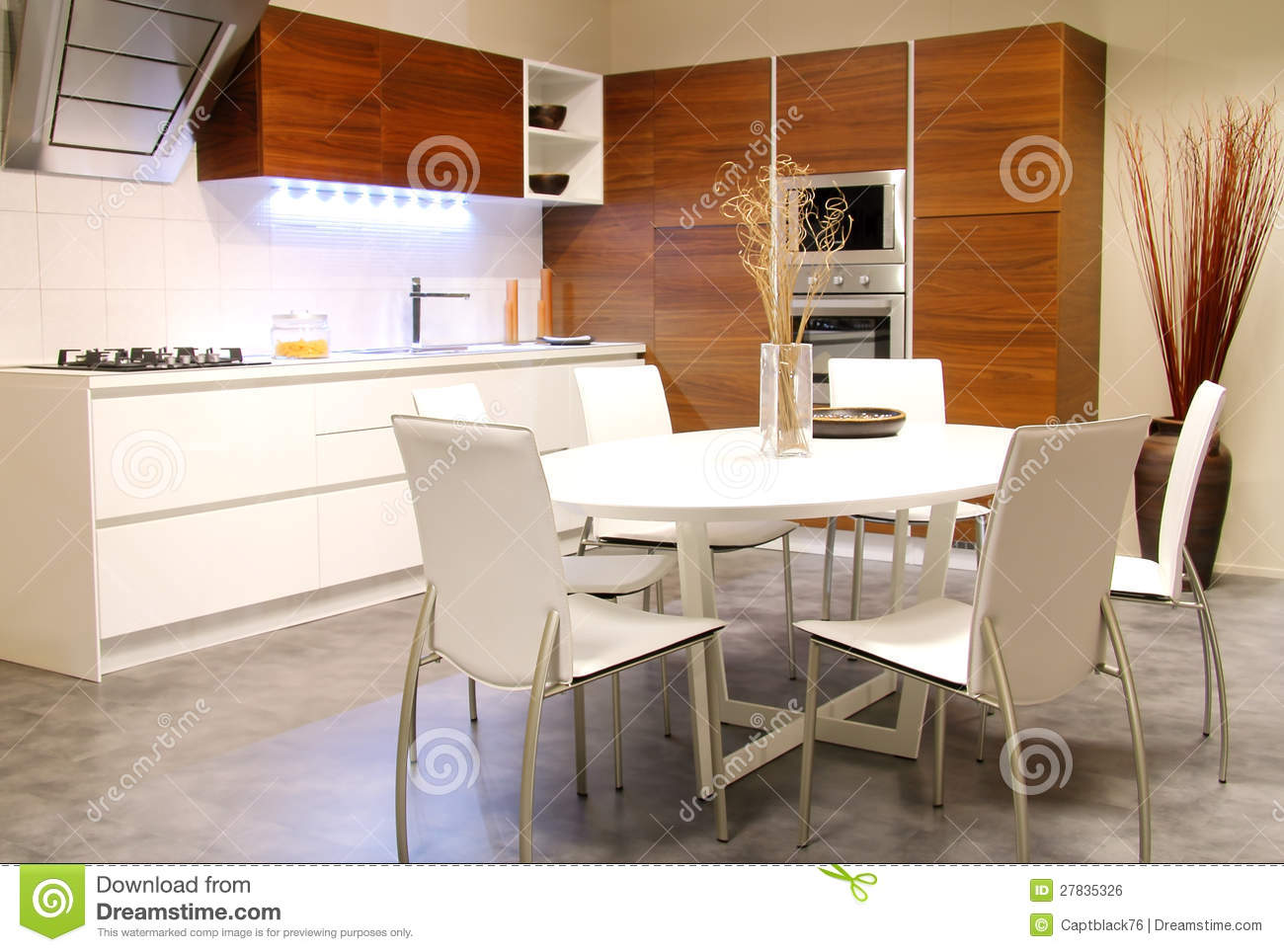 Modern Kitchen With White Table Royalty Free Stock Image  Image