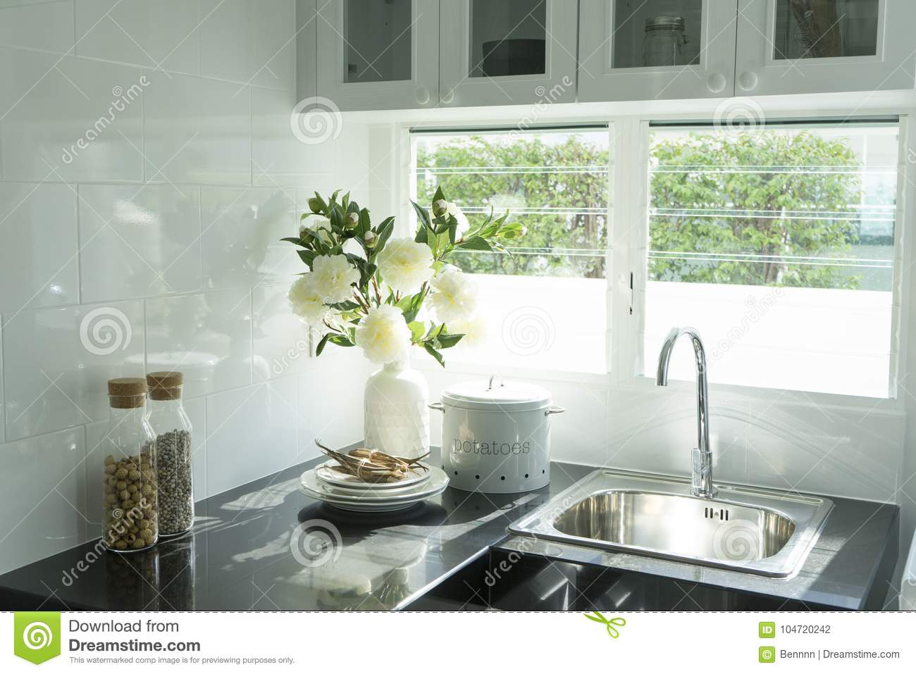 Modern Kitchen With White Worktop Sink Stock Photo Image Of Flat