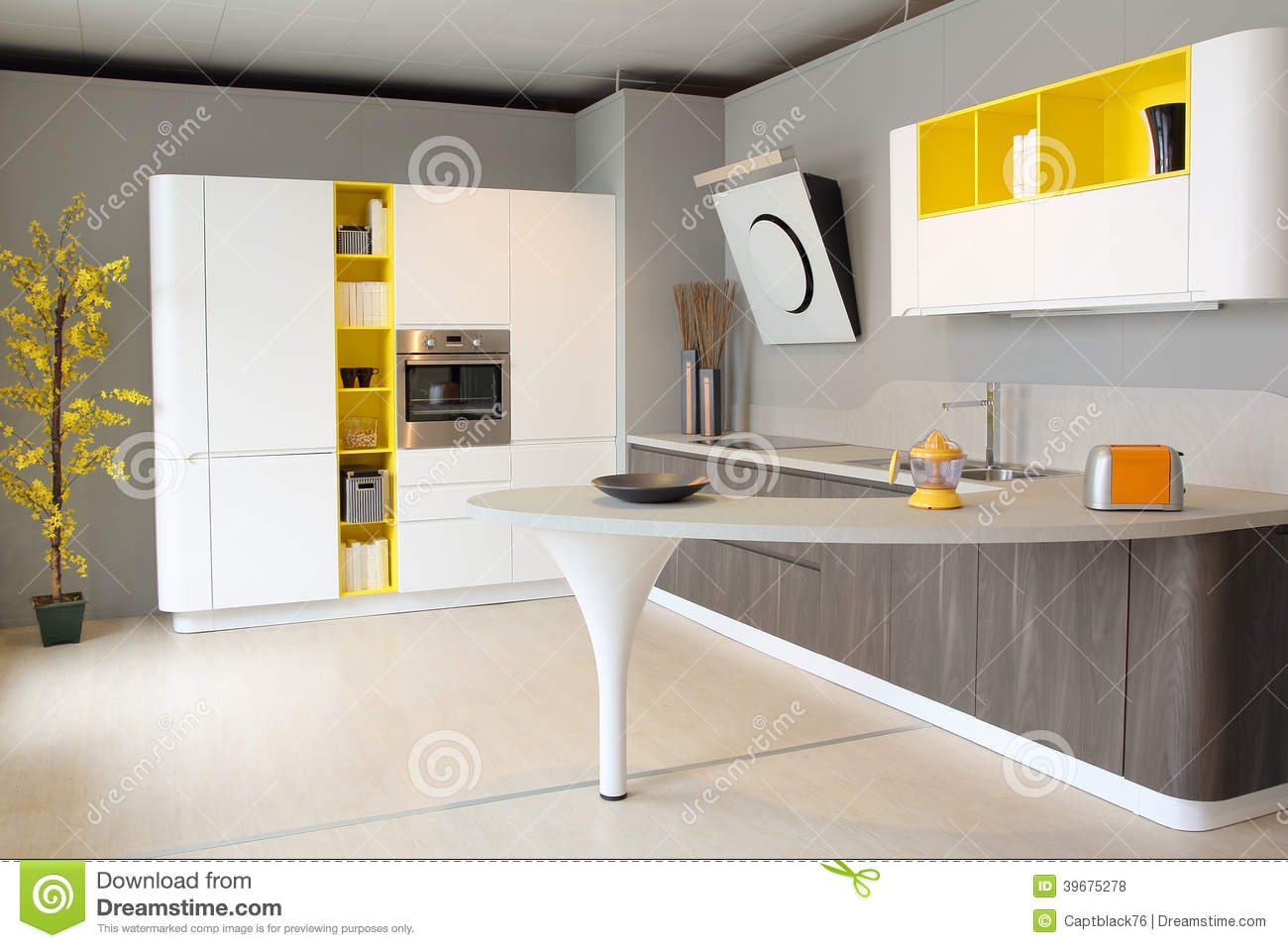 Modern kitchen white and yellow coloured stock photo - Cucine moderne gialle ...