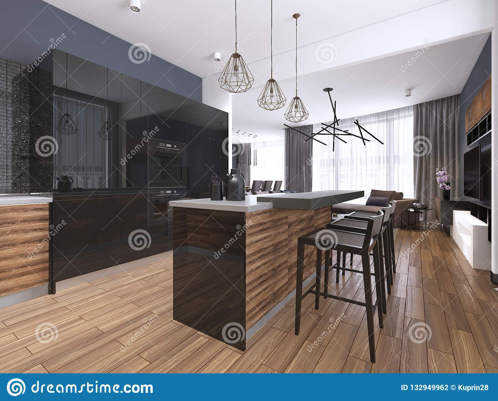 Modern Kitchen With Wood And Gloss Black Kitchen Cabinets Kitchen Island With Bar Stools Stone Countertops Built In Appliances Stock Illustration Illustration Of Elegant Bright 132949962