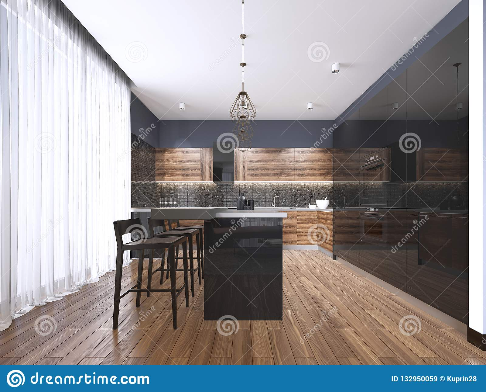 Modern Kitchen With Wood And Gloss Black Kitchen Cabinets Kitchen Island With Bar Stools Stone Countertops Built In Appliances Stock Illustration Illustration Of Northwest Dark 132950059