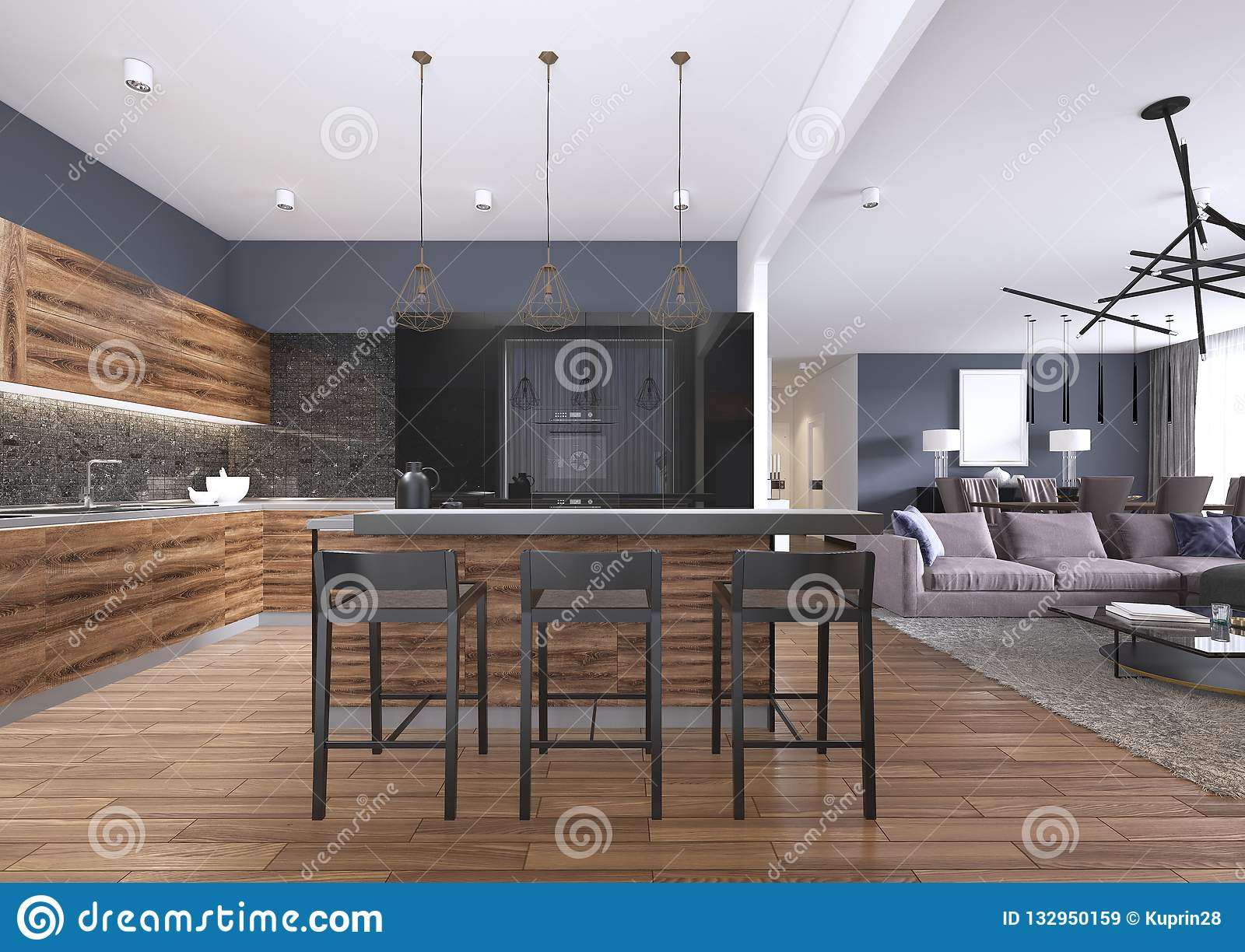 Modern Kitchen With Wood And Gloss Black Kitchen Cabinets Kitchen Island With Bar Stools Stone Countertops Built In Appliances Stock Illustration Illustration Of Clean Cabinets 132950159