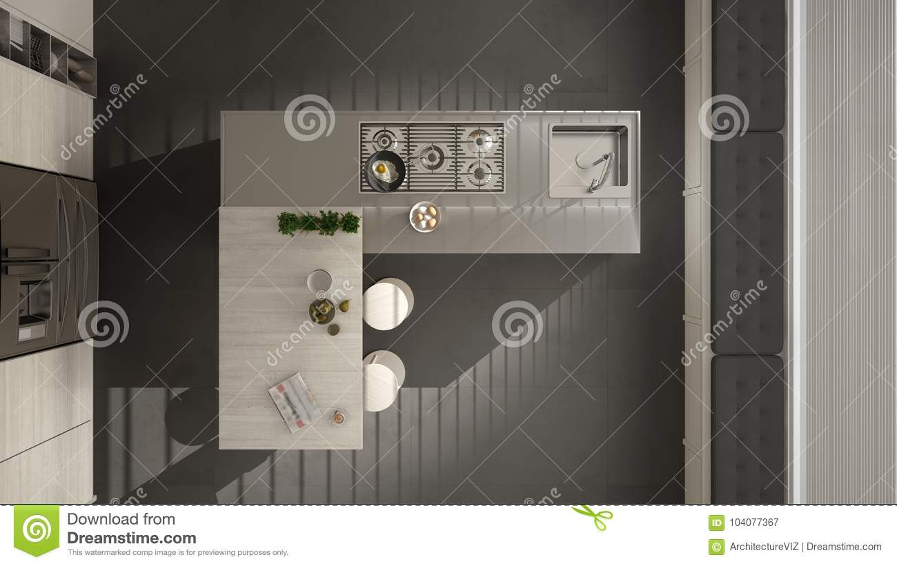 Modern Kitchen With Wooden Details Top View On Island And