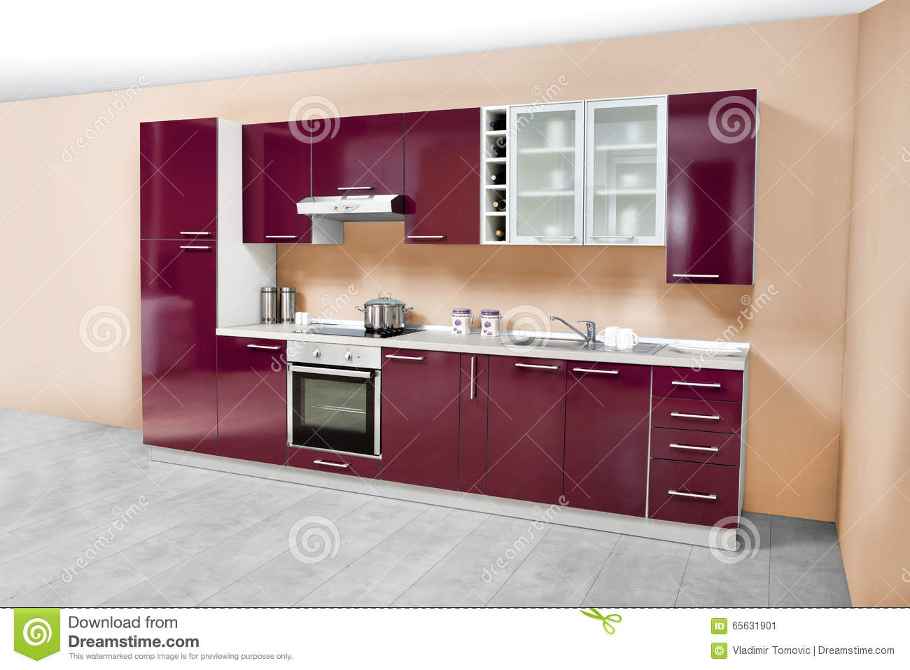 Modern kitchen wooden furniture simple and clean stock for Ameublement cuisine moderne