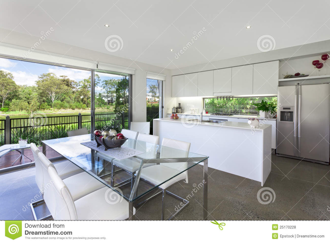 Modern Kithchen And Dining Room Stock Photo - Image of nobody ...