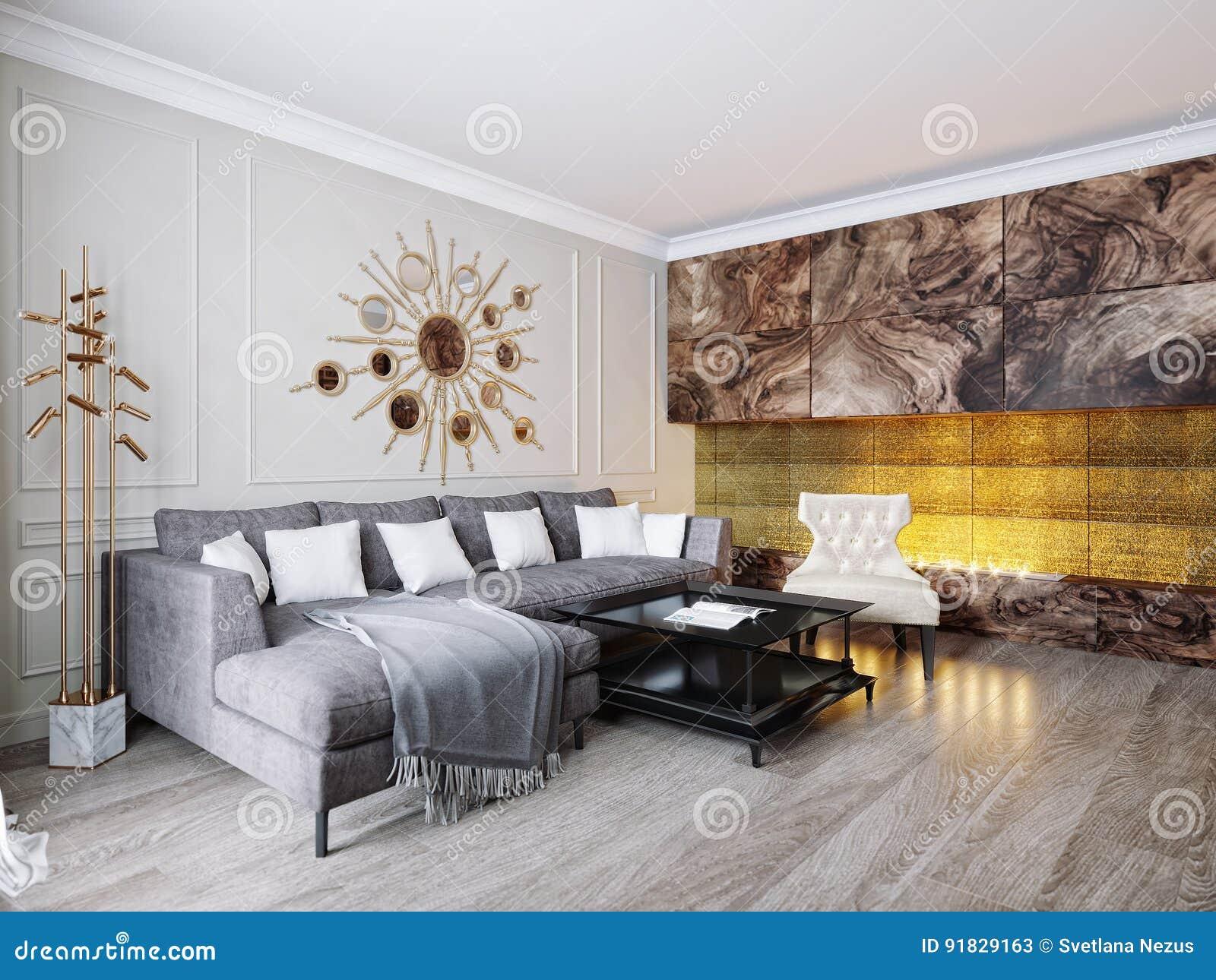 Modern klassiek beige gray living room interior design stock