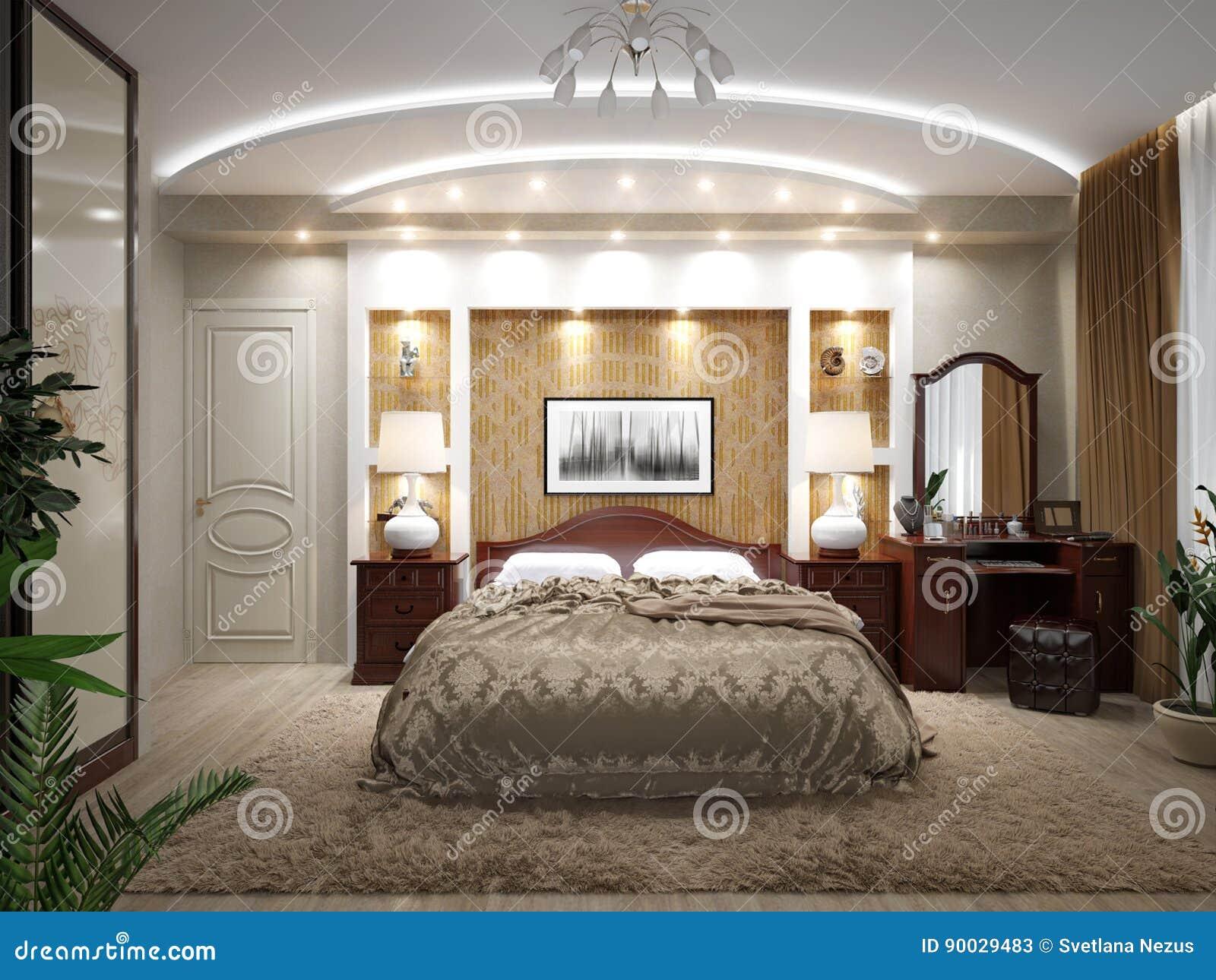 Modern klassiek slaapkamer binnenlands ontwerp stock illustratie