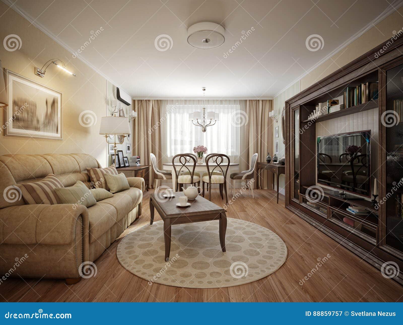 Modern klassiek woonkamer en eetkamer binnenlands ontwerp stock