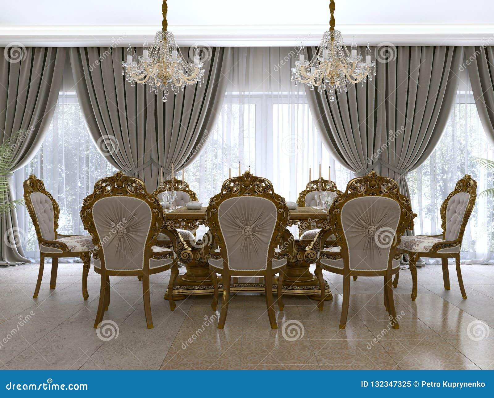 Modern klassisk äta middag tabell i en lyxig barock vardagsrum med portionen