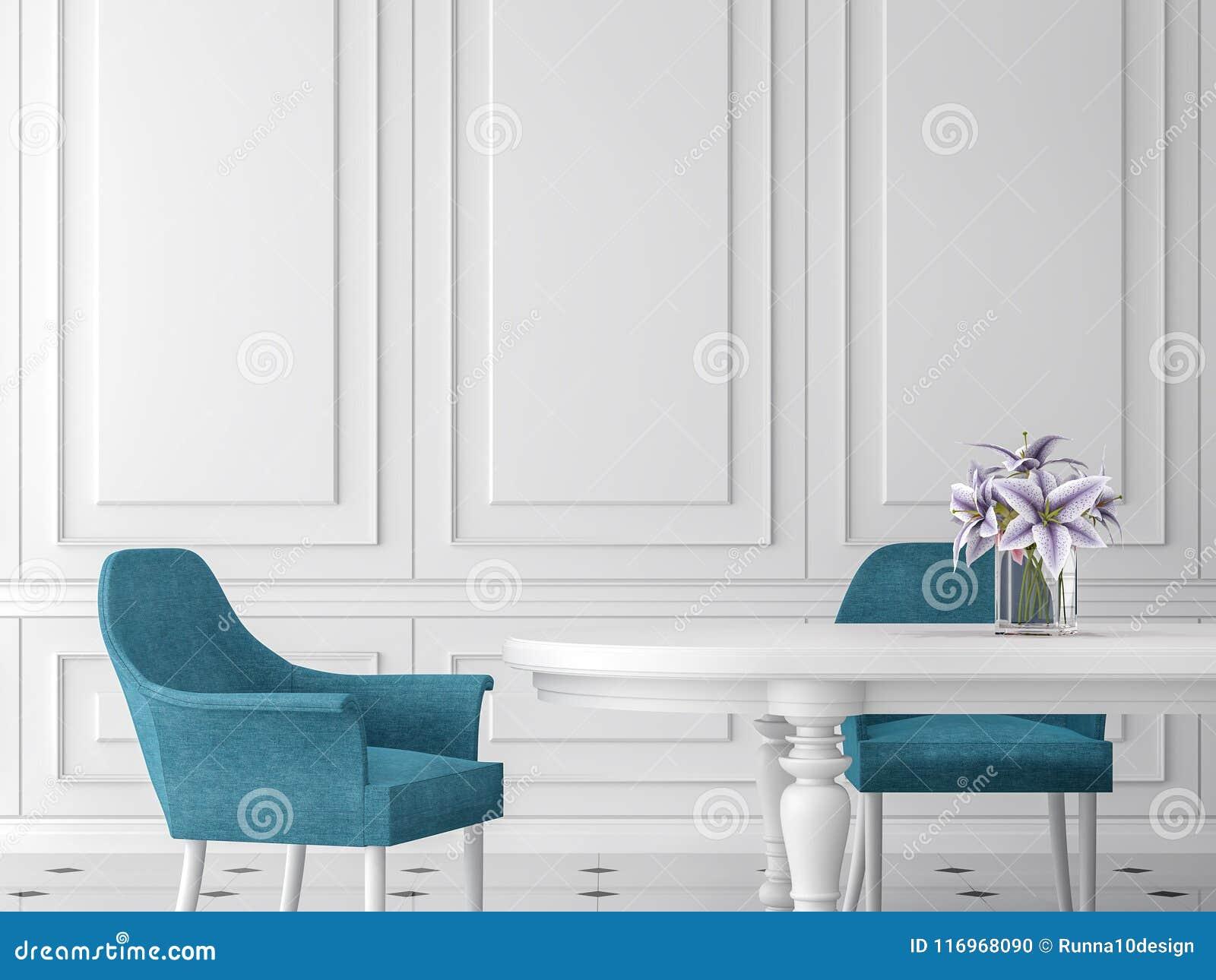 Modern klassisk matsal 3d framför, möblerade med den vit tabellen och blåttstol