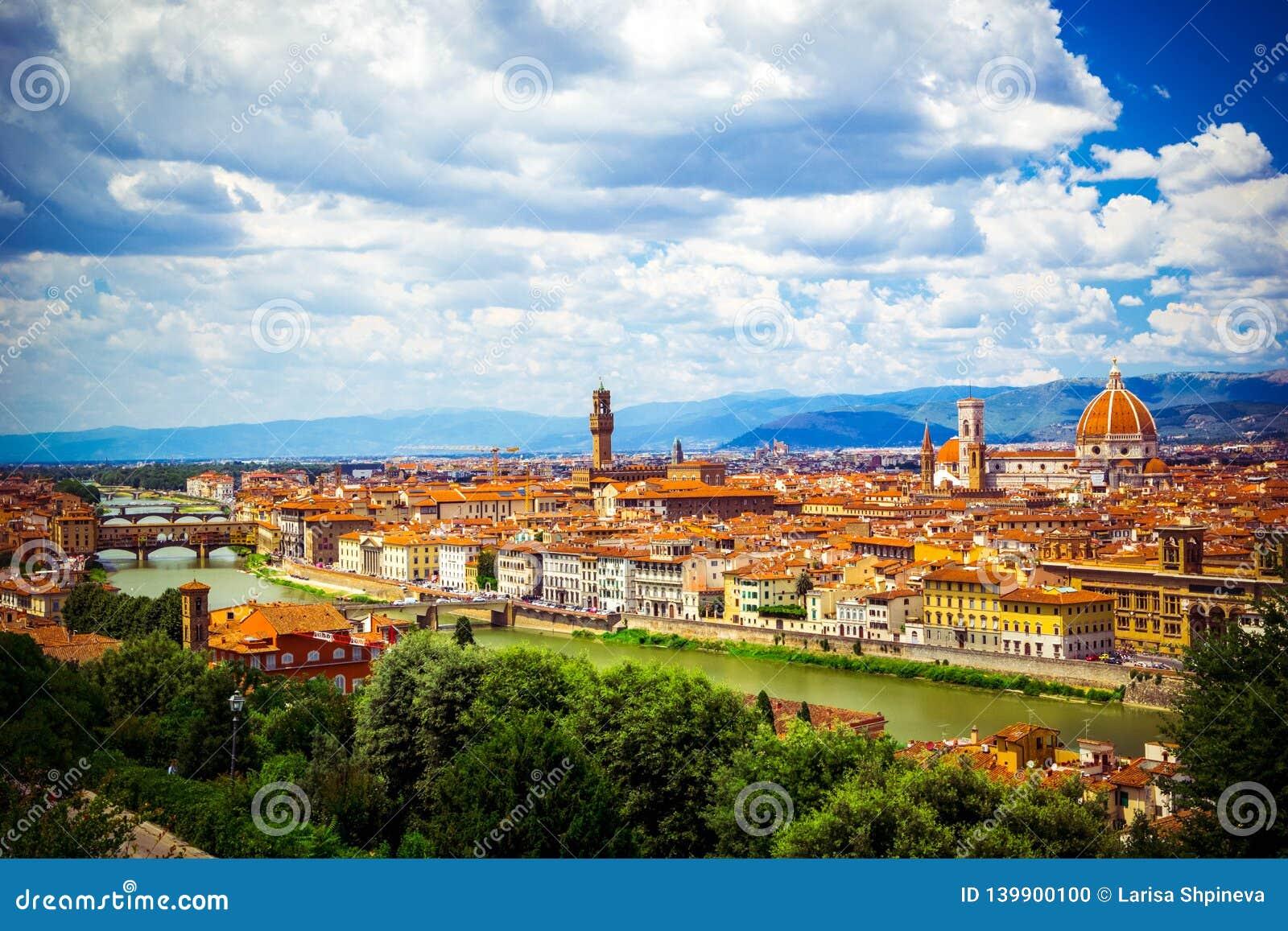 Modern kleurrijk satellietbeeld Florence Firenze op blauwe achtergrond Beroemde Europese reisbestemming Mooie architectuur italia