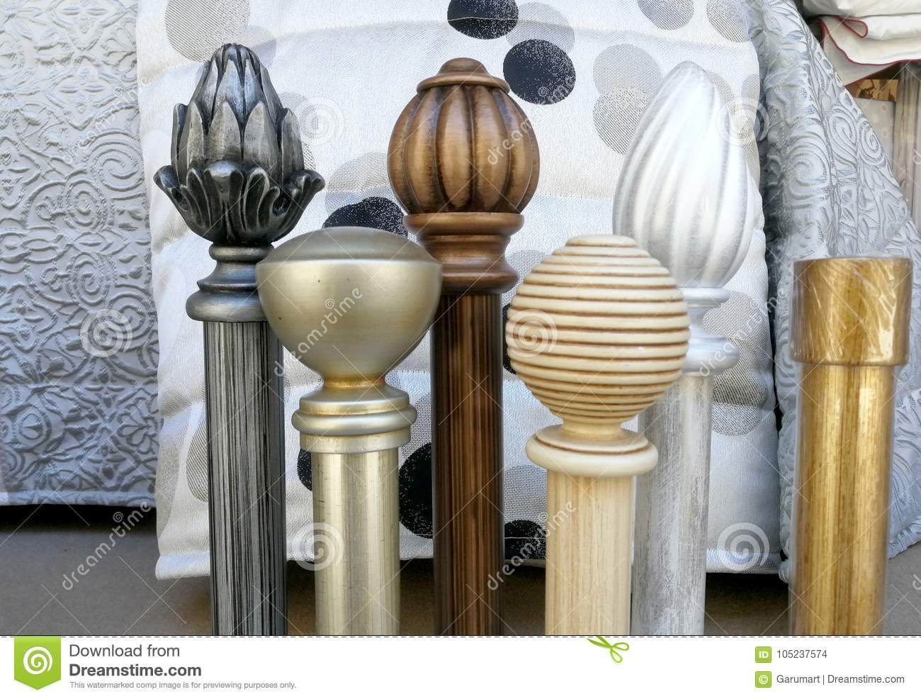 Modern Knobs For Curtain Rods Stock Photo