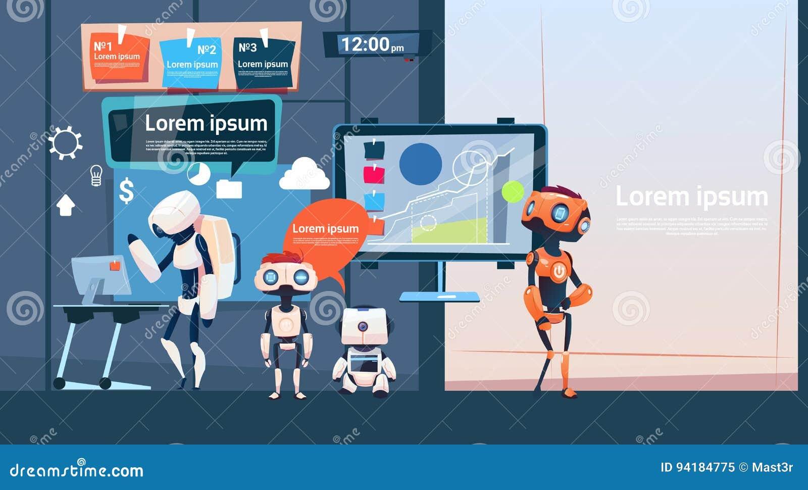 Modern Kontor Affär Robotar Gruppera Arbete, Företag Cyborg Team Banner With Copy Space