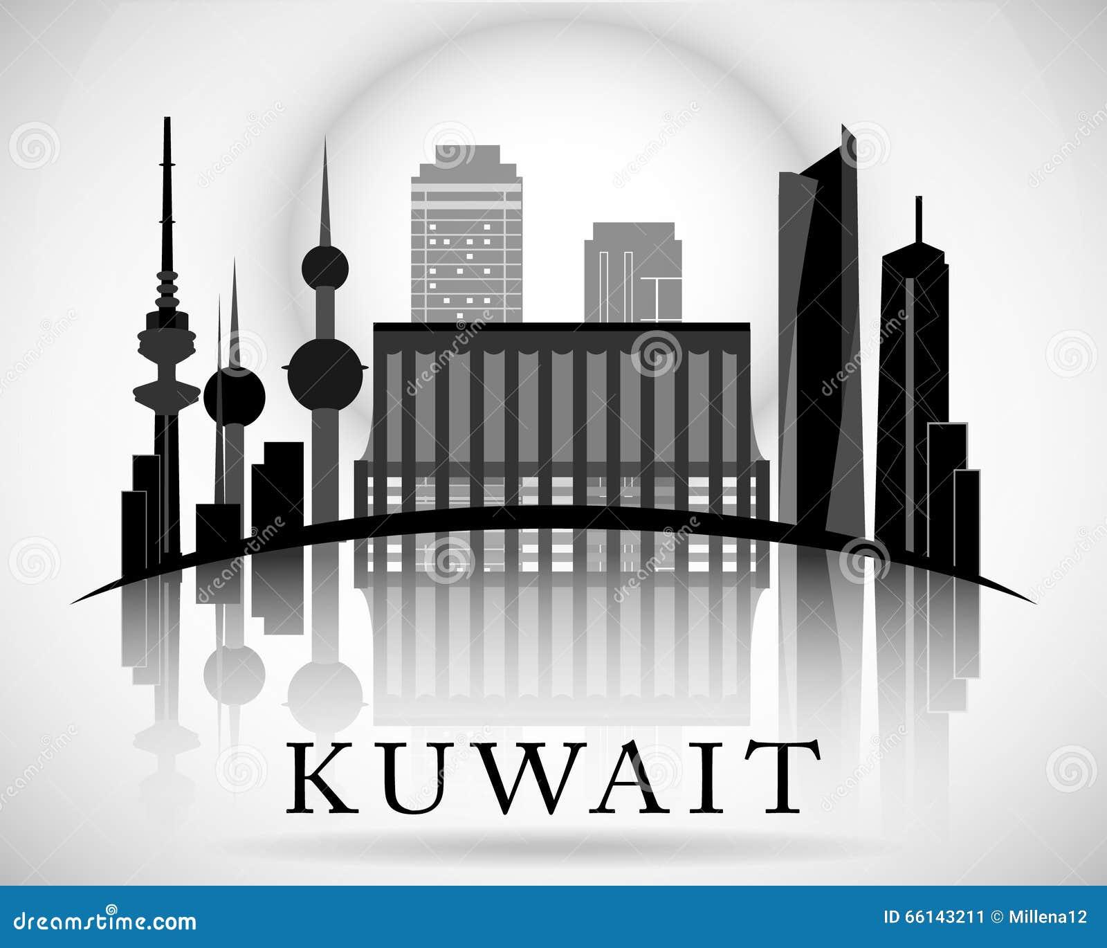 Modern kuwait city skyline design stock vector for Modern house design kuwait