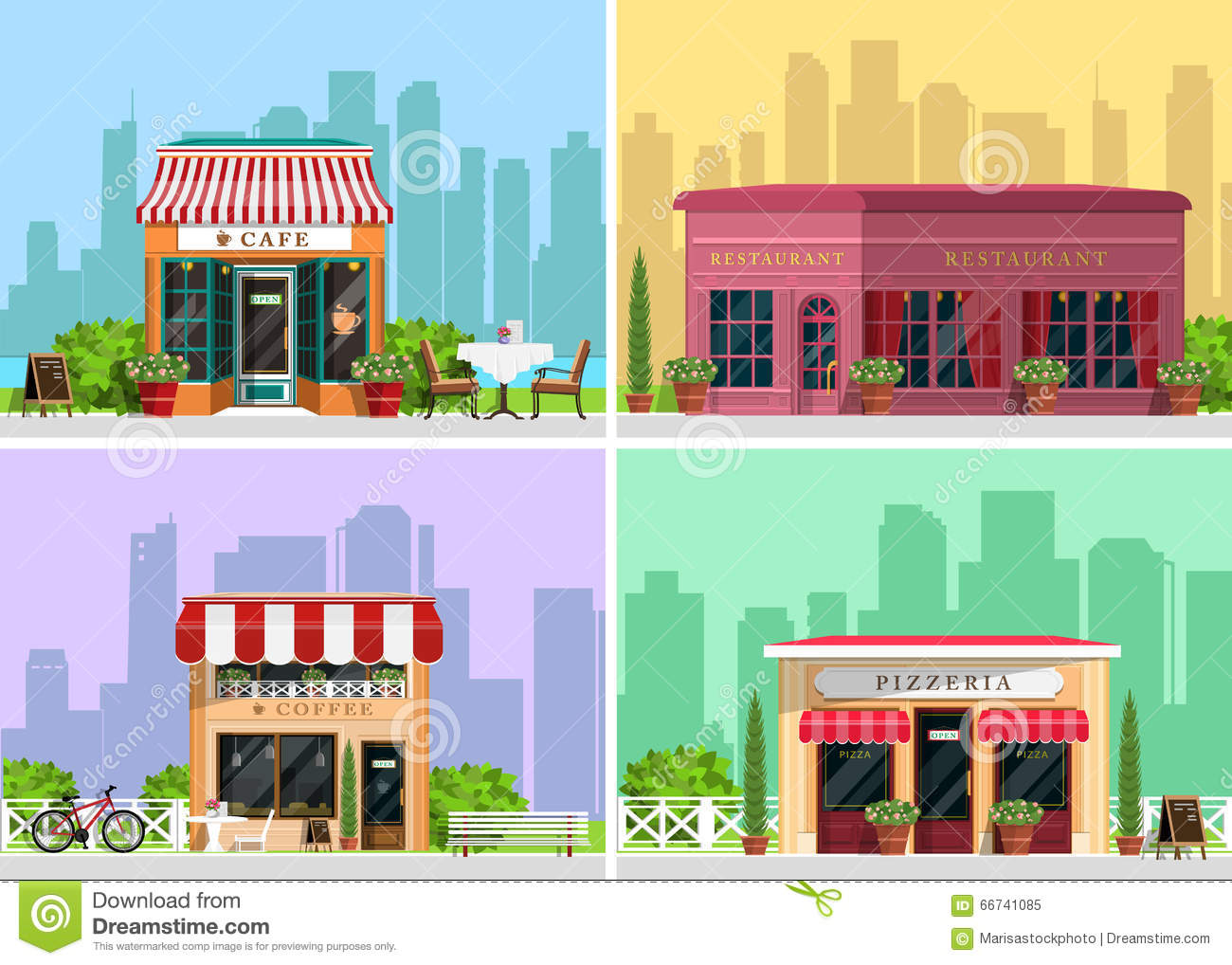 Modern landscape set with cafe restaurant pizzeria coffee house building trees bushes flowers benches restaurant tables