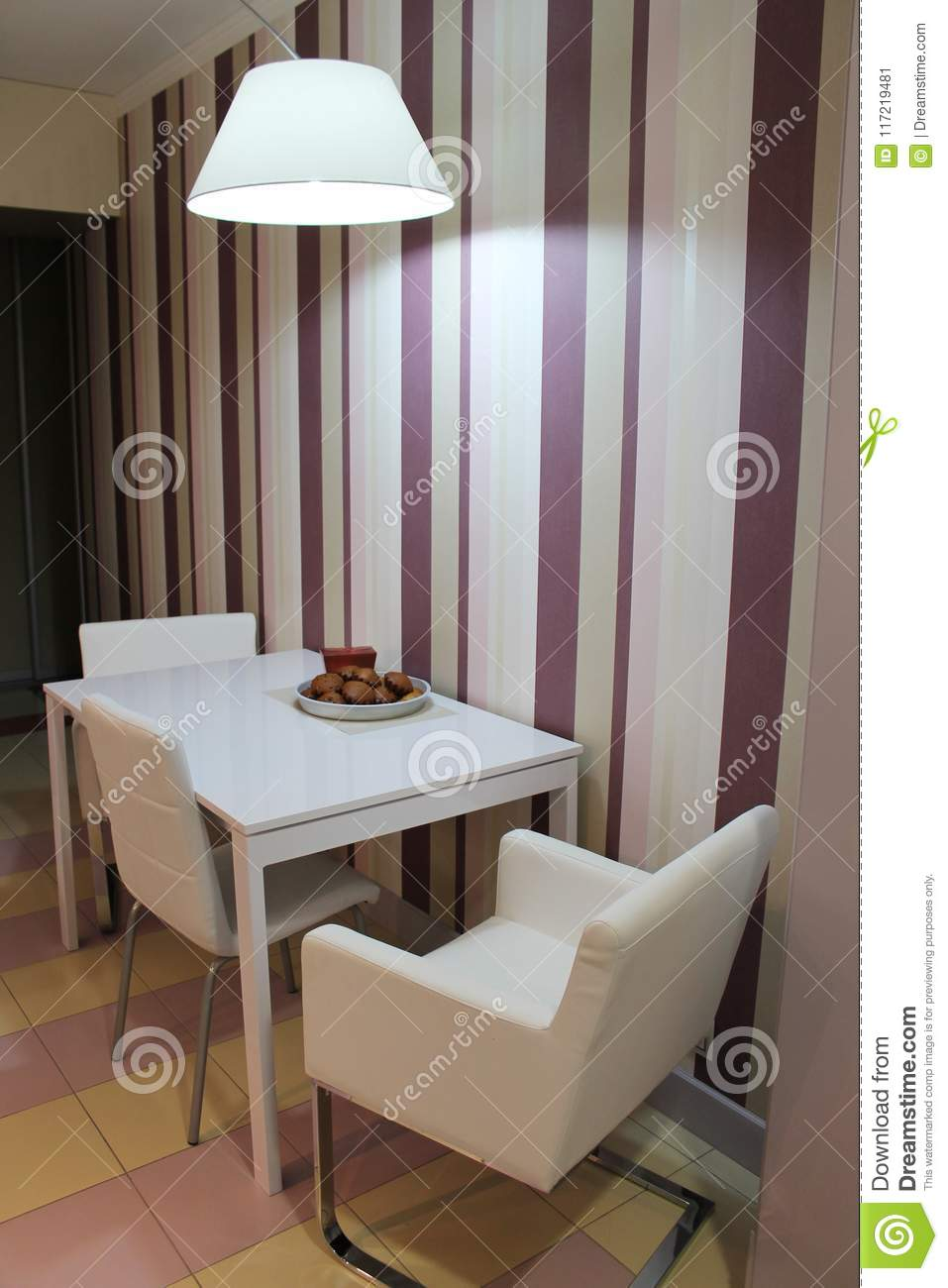 Picture of: Modern Large Lamp Hanging Over The Dining Table In The Kitchen Stock Image Image Of Cuisine Furnishings 117219481