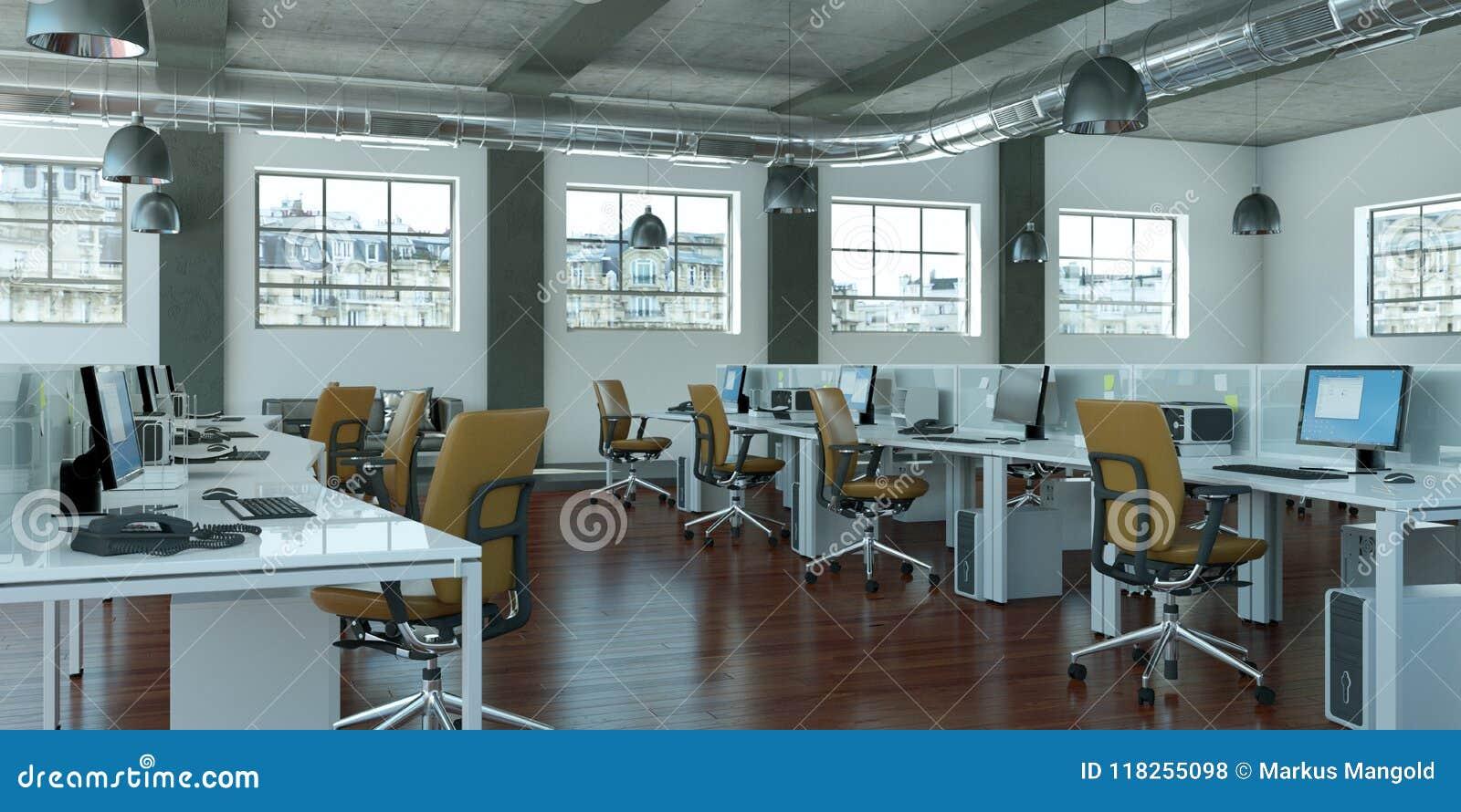 Modern Large Minimalistic Office Interior Design 3d