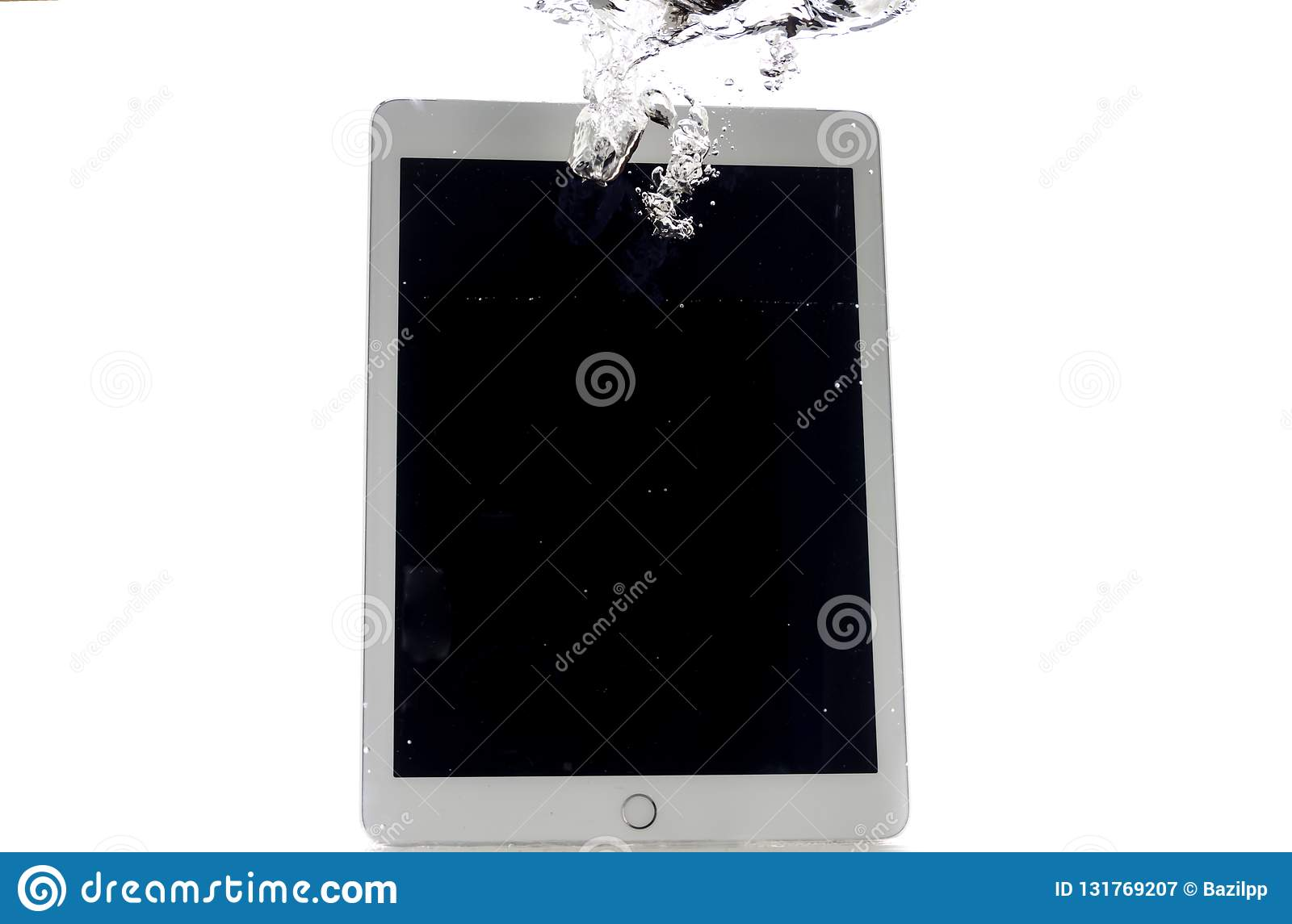 Modern large tablet under water, bad day, not photoshop
