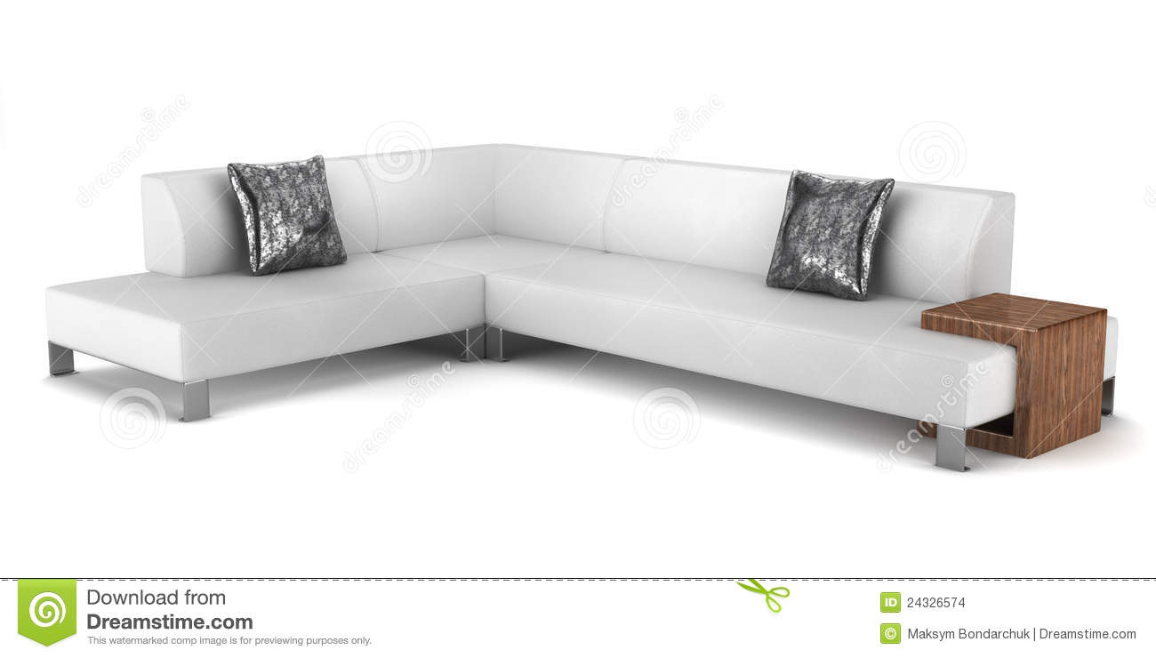 Throw Pillows For A White Leather Couch : Modern Leather Couch With Pillows Isolated Stock Images - Image: 24326574