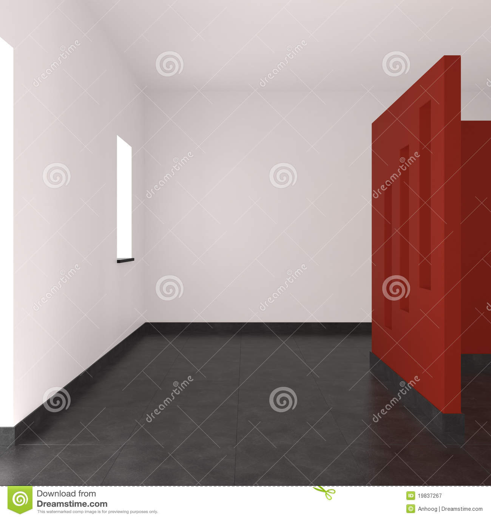 Modern leeg binnenland met rode muur royalty vrije stock fotografie afbeelding 19837267 - Moderne betegelde vloer ...