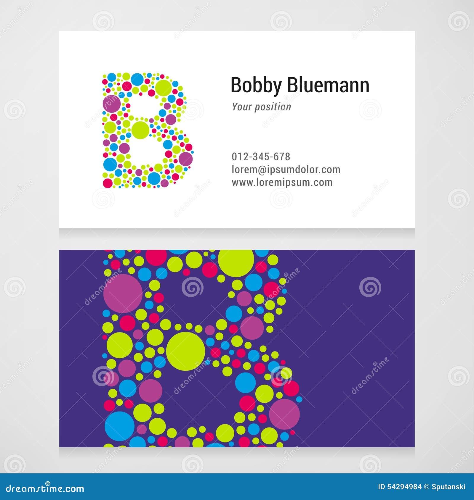 Modern letter b circle business card template stock vector for Circle business card template