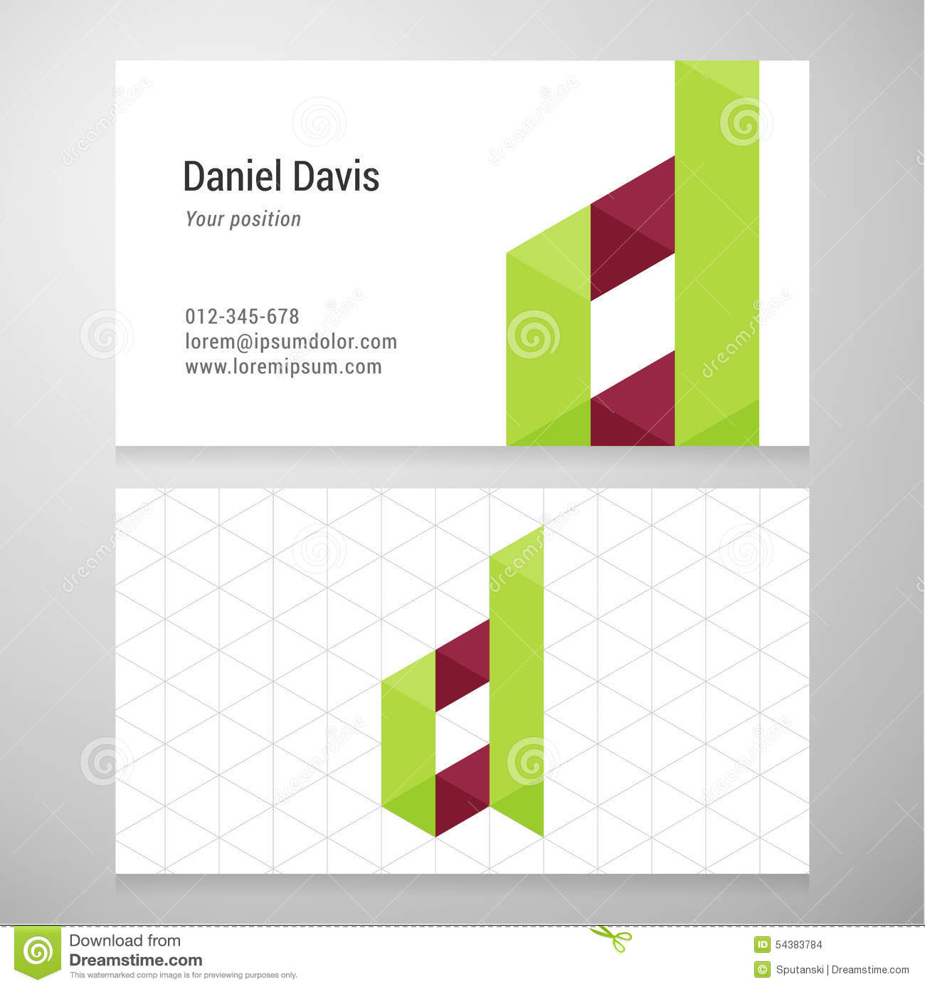 Modern letter d origami business card template stock vector download comp colourmoves