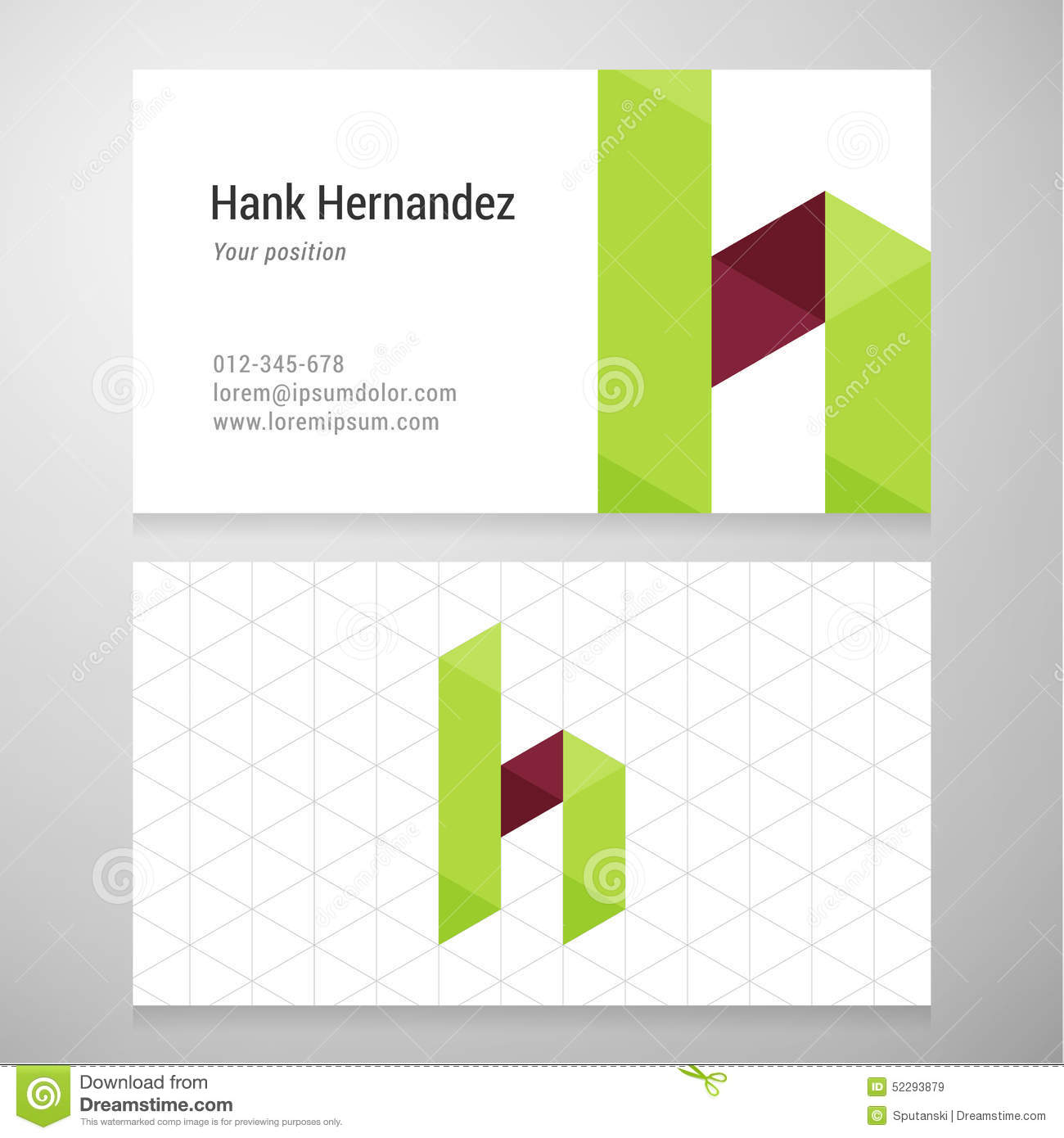 Modern Letter H Origami Business Card Template Stock Vector