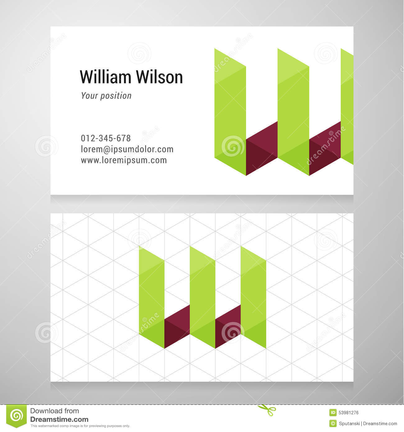 Modern letter w origami business card template stock vector modern letter w origami business card template jeuxipadfo Gallery