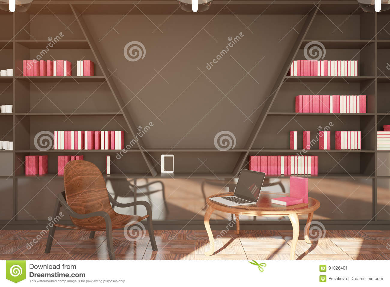 Modern Library With Blank Wall Stock Illustration