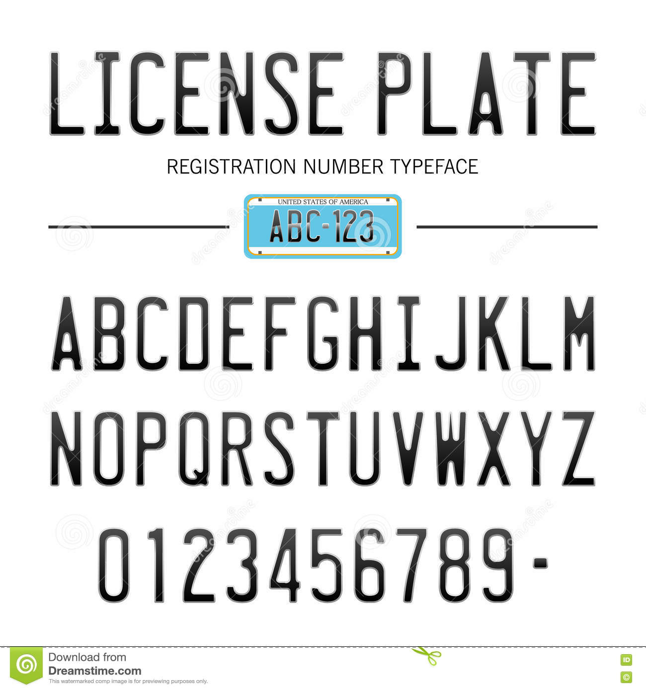 Modern license plate font for registration numbers with sample design isolated on background