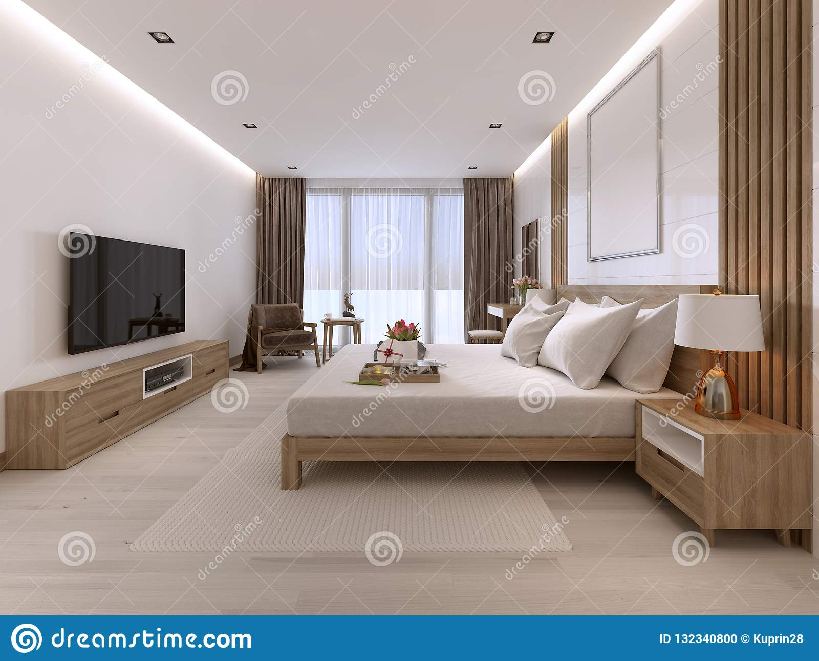 Modern Light Bedroom With Wooden Furniture In Scandinavian Style Stock Illustration Illustration Of Idea Bedroom 132340800