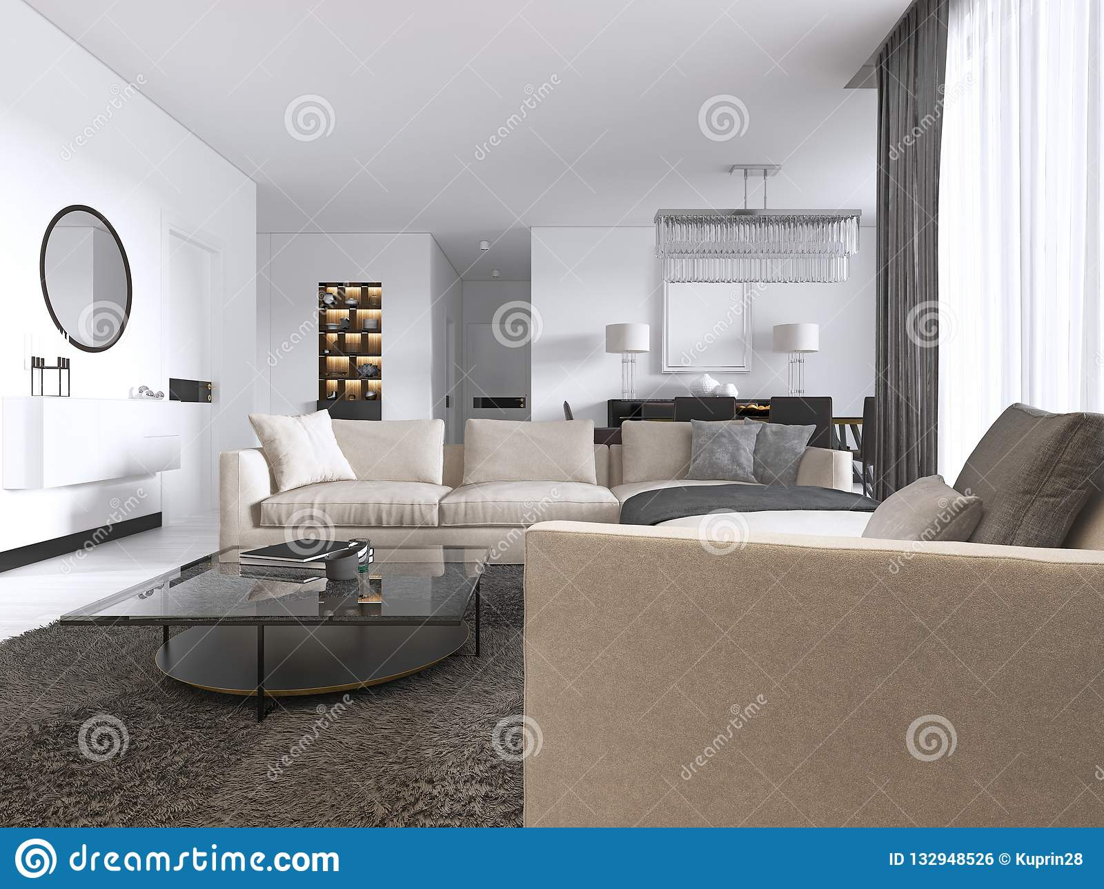 Modern Light Contemporary Living Room With Large Corner Sofa And Dining Area Console A Mirror TV Unit Coffee Side Table 3d Rendering