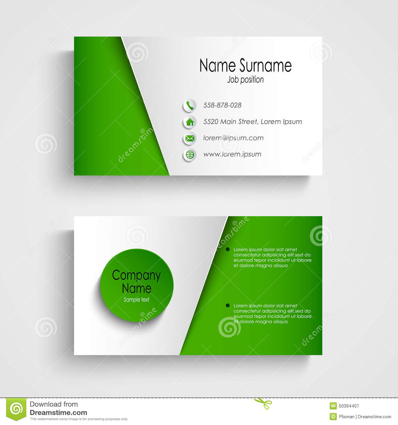 Modern light green business card template stock vector for Sustainable business cards