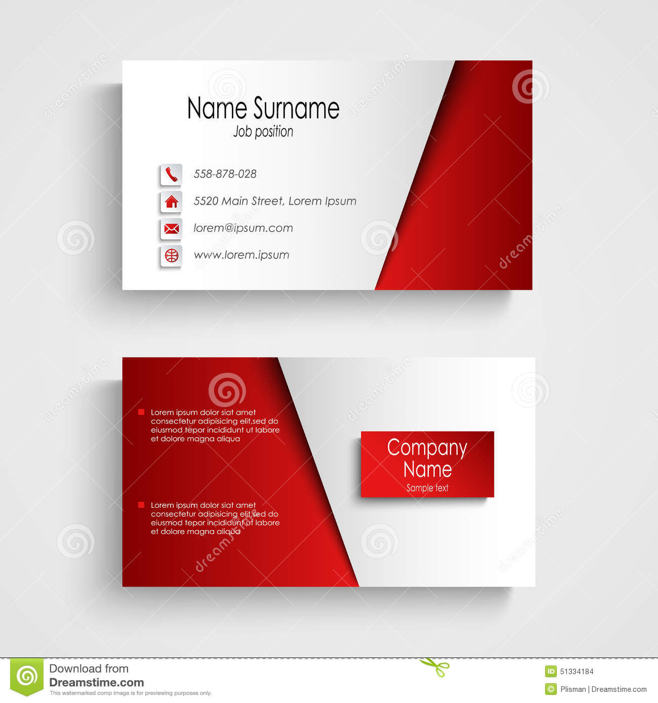 modern light red business card template stock vector