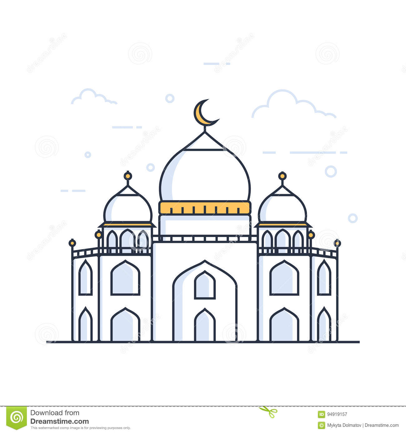 Modern Line Drawing Artists : Modern line art islamic mosque building white background