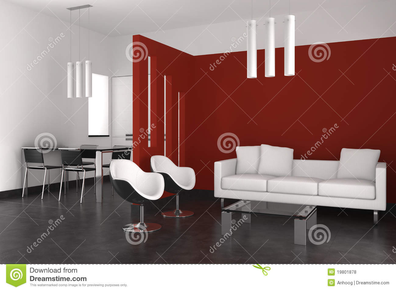 Modern Living Dining Room Modern Living And Dining Room With Kitchen Royalty Free Stock