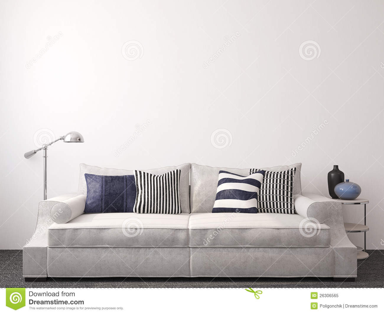 modern living room interior with couch near empty white wall 3d
