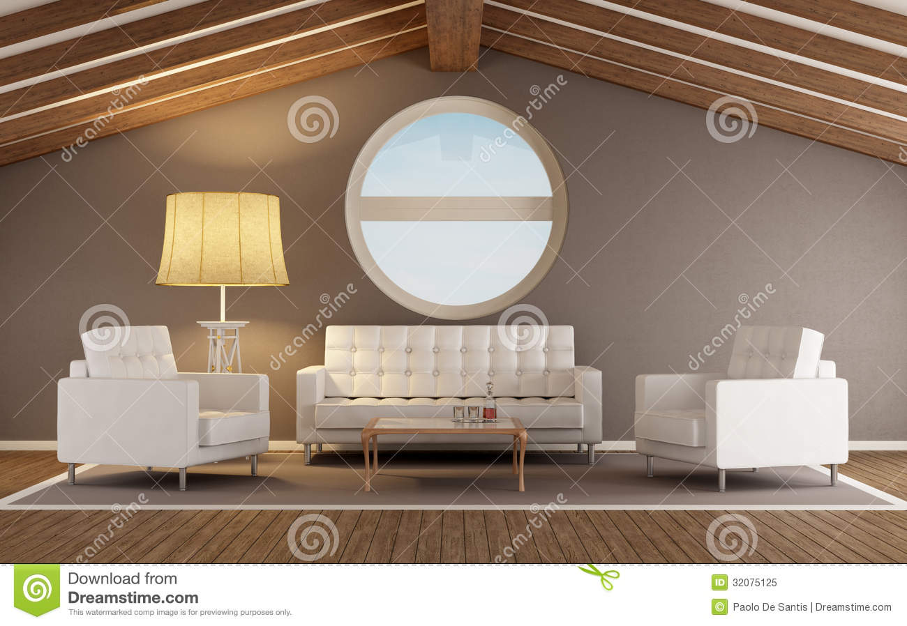 Attic Living Room modern living room in the attic royalty free stock image - image