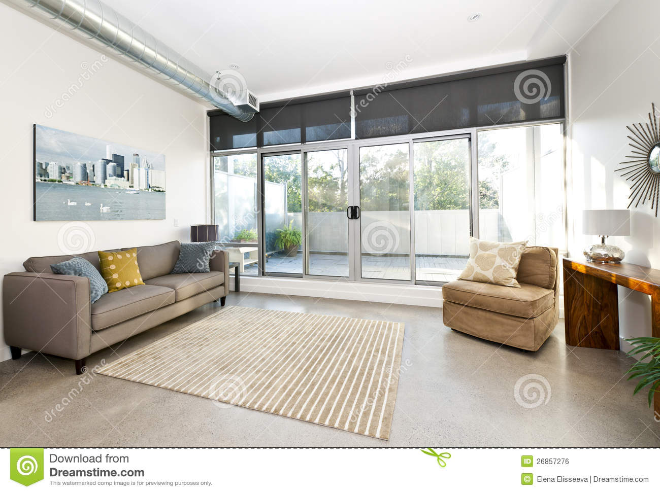 Modern living room and balcony stock image   image: 26857281