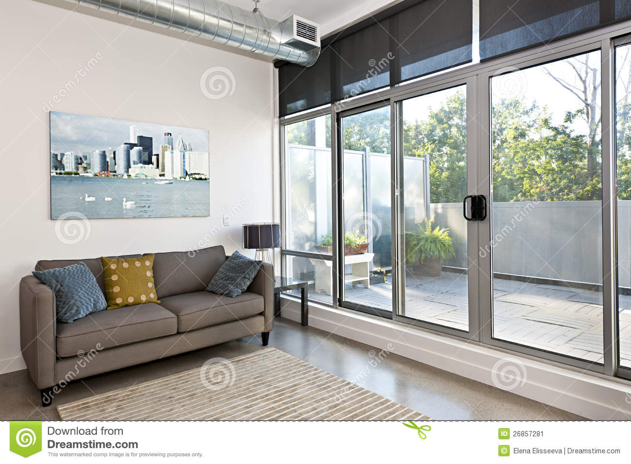 Modern living room and balcony stock image image 26857281 for Balcon meaning