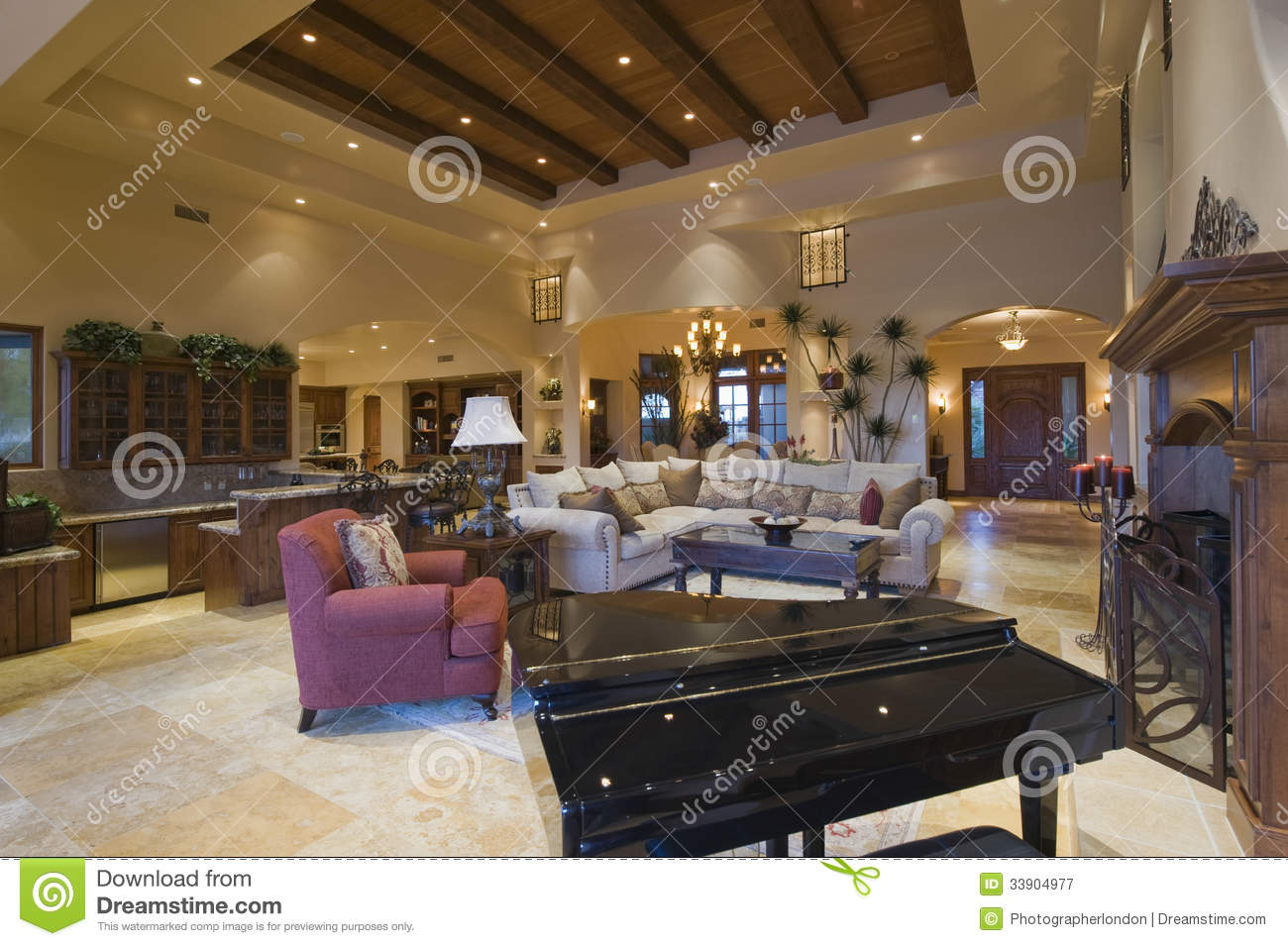 Modern Living Room With Beamed Ceiling