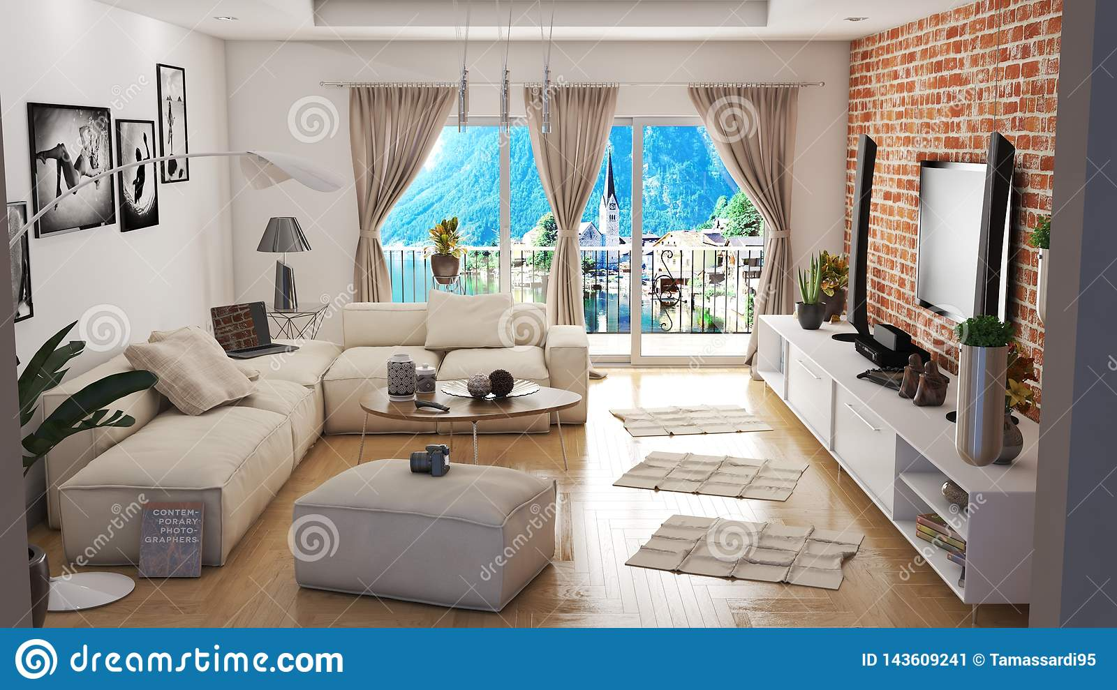 Modern Living Room With Beautiful View 3D Illustration Stock ...