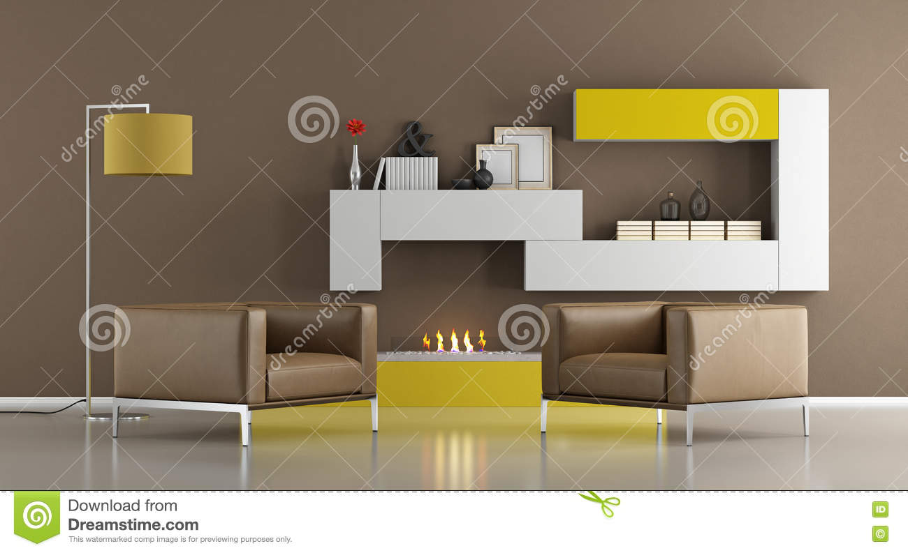 Modern Living Room With Bio Ethanol Fireplace Stock