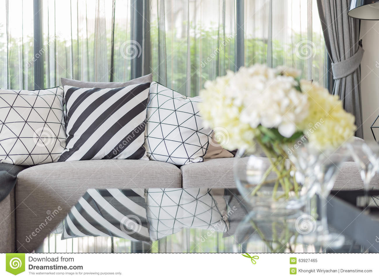 Modern Living Room With Black And White Pillows On Grey Sofa Stock ...