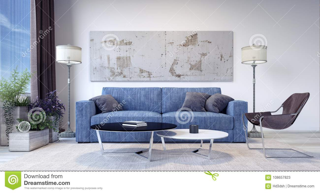 Modern Living Room With Blue Jeans Sofa Stock Illustration ...