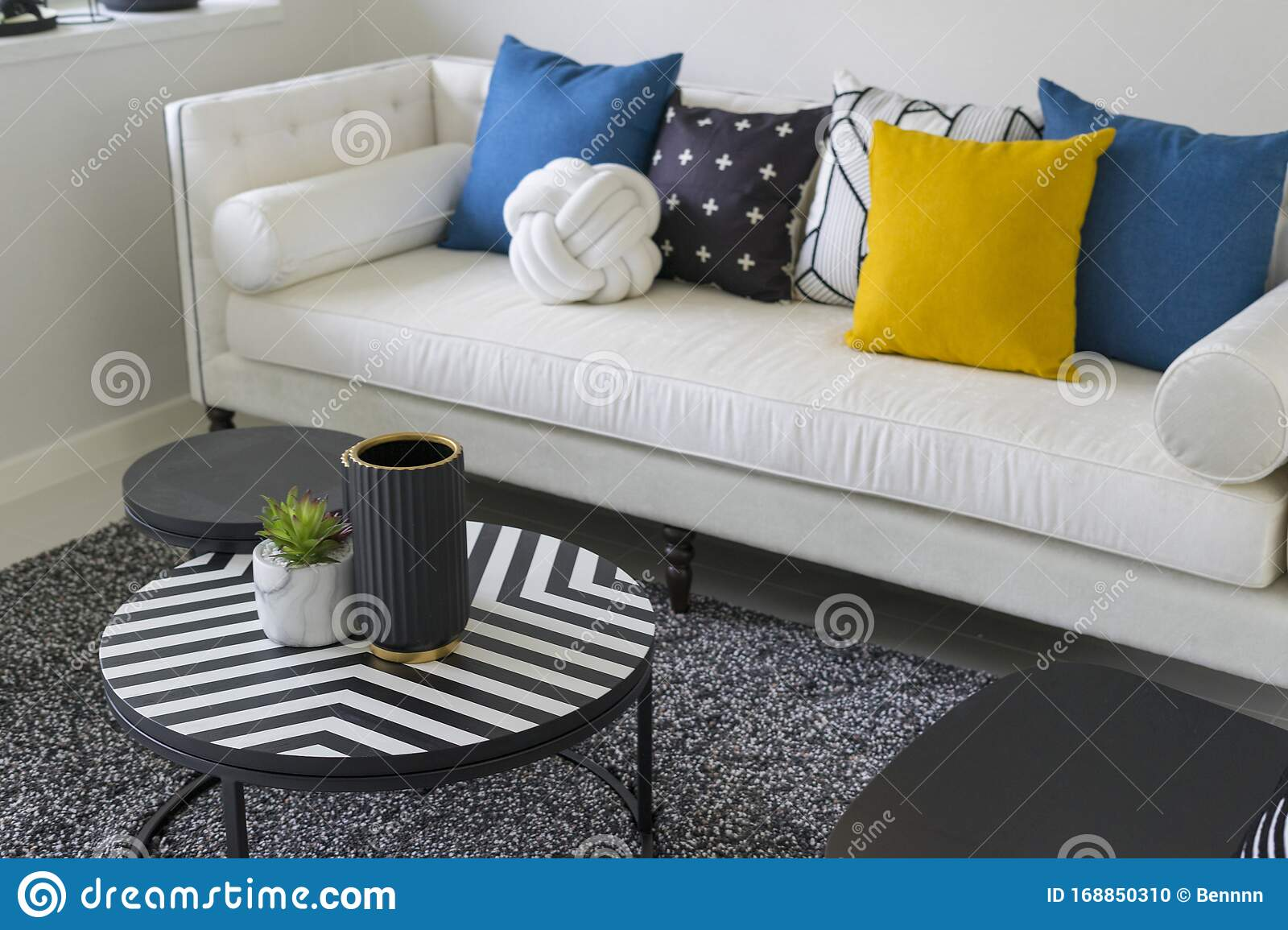 Modern Living Room With Blue White And Yellow Pillow On Sofa Stock Photo Image Of Design Home 168850310