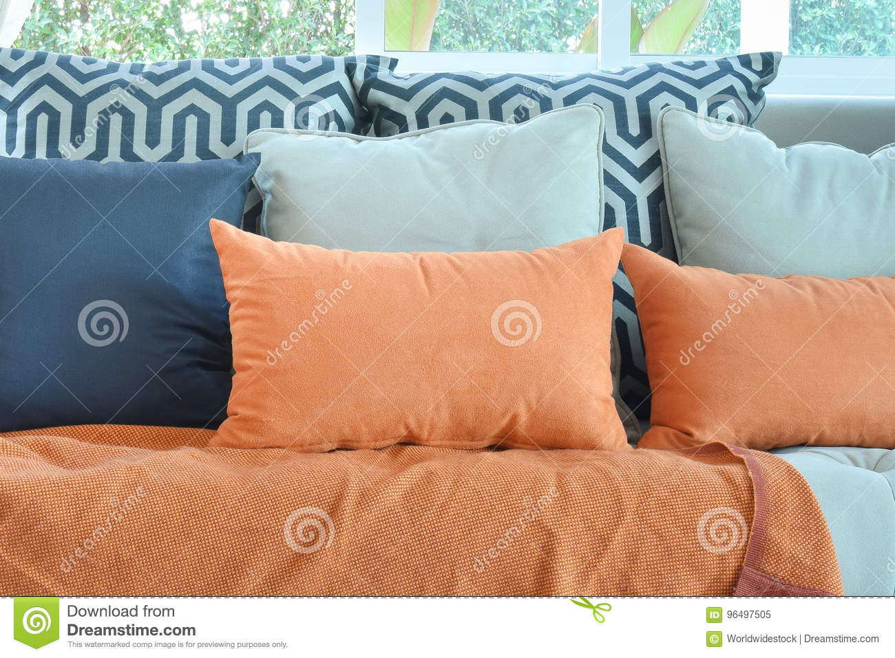 Tremendous Modern Living Room With Brown And Orange Tweed Sofa Stock Onthecornerstone Fun Painted Chair Ideas Images Onthecornerstoneorg