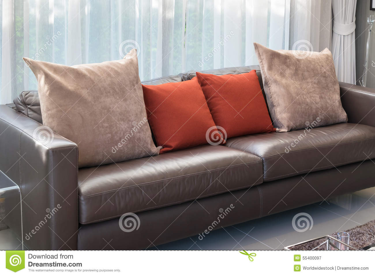 Brown And Red Pillow On Sofa With Lamp In Living Room Royalty Free Stock Photography