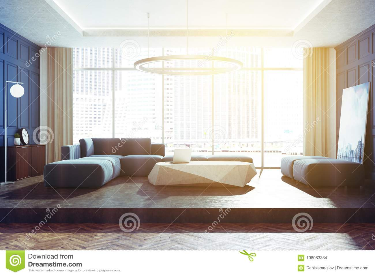 Blue Panoramic Living Room Toned Stock Illustration - Illustration ...